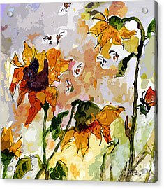 Abstract Sunflowers And Bees Provence Acrylic Print