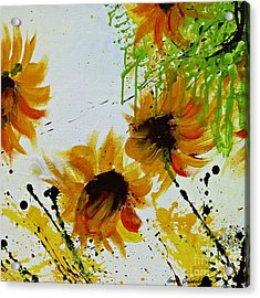 Abstract Sunflowers Acrylic Print by Ismeta Gruenwald