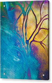 Acrylic Print featuring the mixed media Fire And Ice Abstract Tree Art  by Priya Ghose