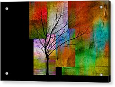 abstract- trees - Color Blocks with Tree Acrylic Print by Ann Powell