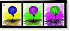 Abstract Trees Tryptich Acrylic Print