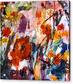 Abstract Tuscan Poppies Square Format Acrylic Print by Ginette Callaway