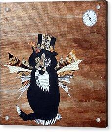 Steampunk Style Cat Art Tuxedo Cat Abstract Cat Painting Acrylic Print