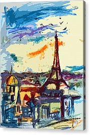 Abstract Under Paris Skies Mixed Media Art Acrylic Print