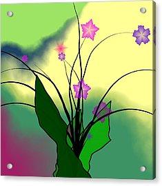 Abstract Violets Acrylic Print by GuoJun Pan