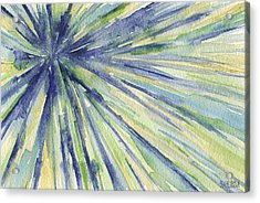 Abstract Watercolor Painting - Blue Yellow Green Starburst Pat Acrylic Print by Beverly Brown