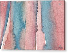 Abstract Watercolor Painting - Coral And Teal Blue Wide Stripes Acrylic Print
