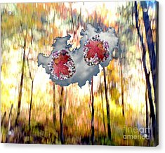 Abstract West Fork Autumn Bell Rock Heart Cloud Acrylic Print by Marlene Rose Besso