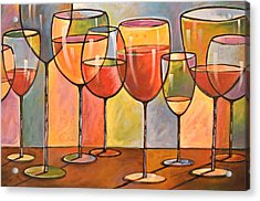 Abstract Wine Art ... Whites And Reds Acrylic Print by Amy Giacomelli