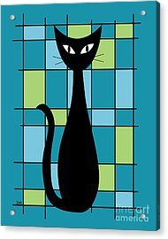 Abstract With Cat In Teal Acrylic Print