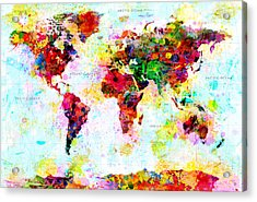 Abstract World Map Acrylic Print by Gary Grayson
