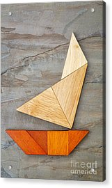 Abstract Yacht From Tangram Puzzle Acrylic Print