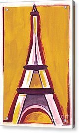 Abstract Yellow Red Eiffel Tower Acrylic Print