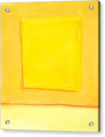 Abstract Yellow Square On Yellow Acrylic Print by Kazuya Akimoto