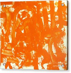 Abstraction In Orange Acrylic Print by Venus