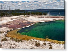Abyss Pool And Yellowstone Lake Acrylic Print by Sue Smith