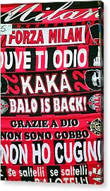 Ac Milan Fans Scarves  Acrylic Print by Valentino Visentini