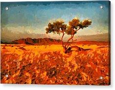 Acrylic Print featuring the digital art Acacia Tree In Namibia by Kai Saarto
