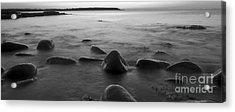 Acadia National Park Shoreline Sunrise Wakeup Black And White Acrylic Print by Glenn Gordon