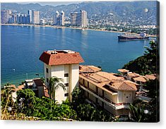 Acapulco Bay Architecture Acrylic Print by Linda Phelps