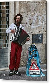 Accordian Player Acrylic Print by Hugh Smith