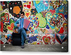 Accordion Player Acrylic Print by Pedro Nunez