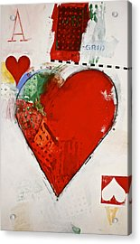 Acrylic Print featuring the painting Ace Of Hearts 8-52 by Cliff Spohn