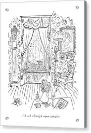 Ack-ack Through Open Window Acrylic Print by Saul Steinberg