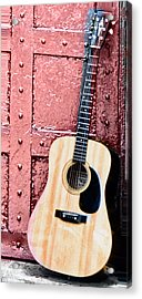 Acoustic Guitar And Red Door Acrylic Print by Bill Cannon