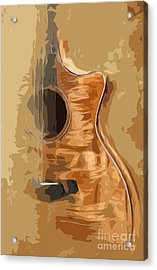 Acoustic Guitar Brown Background 1 Acrylic Print by Drawspots Illustrations