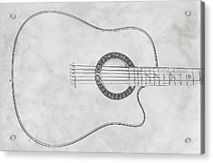 Acoustic Guitar On White Sketch Acrylic Print by Randy Steele