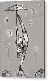 Acrobat On Clowns Acrylic Print by H James Hoff