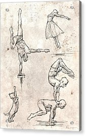 Acrobats And Dancer With Cat Acrylic Print by H James Hoff