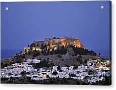 Acropolis And Village Of Lindos During Dusk Time Acrylic Print