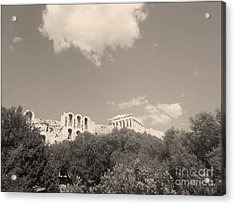 Acropolis In Black Acrylic Print by Katerina Kostaki