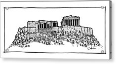 Acrylic Print featuring the drawing Acropolis Of Athens by Calvin Durham