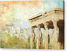 Acropolis Of Athens Acrylic Print by Catf