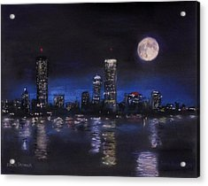 Across The Charles At Night Acrylic Print