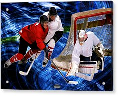 Action At The Hockey Net Acrylic Print by Elaine Plesser