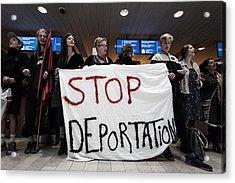 Activists Prevent Deportation Of Ugandan Asylum Seeker In Denmark Acrylic Print by NurPhoto