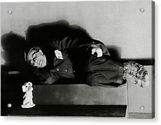 Actor Ed Wynn Lying Down On A Bench In 'the Laugh Acrylic Print by Florence Vandamm