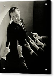 Actor Peter Lorre Posing Against A Wall Acrylic Print
