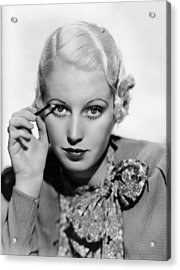 Actress Curls Her Lashes Acrylic Print by Underwood Archives