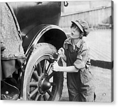 Actress Working On Her Car Acrylic Print by Underwood Archives
