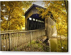 Ada Covered Bridge In Autumn Acrylic Print by Randall Nyhof