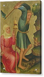 Adam And Eve At Work, Detail From The Grabow Altarpiece, 1379-83 Tempera On Panel Acrylic Print