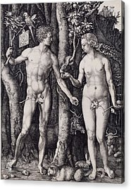 Adam And Eve Engraving Acrylic Print by Albrecht Durer