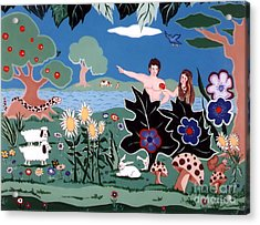 Acrylic Print featuring the painting Adam And Eve by Joyce Gebauer