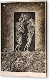 Adam And Eve Acrylic Print by Leonid Stroganov