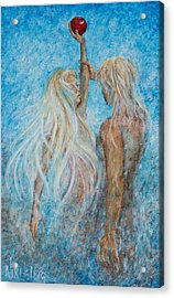 Acrylic Print featuring the painting Adam And Eve  by Nik Helbig